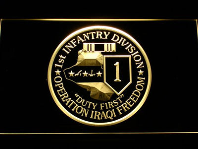 US Army 1st Infantry Division Operation Iraqi Freedom LED Neon Sign - Yellow - SafeSpecial