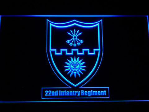 Image of US Army 22nd Infantry Regiment LED Neon Sign - Blue - SafeSpecial