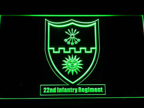 Image of US Army 22nd Infantry Regiment LED Neon Sign - Green - SafeSpecial