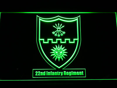 US Army 22nd Infantry Regiment LED Neon Sign - Green - SafeSpecial