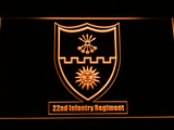 US Army 22nd Infantry Regiment LED Neon Sign - Orange - SafeSpecial