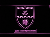 US Army 22nd Infantry Regiment LED Neon Sign - Purple - SafeSpecial