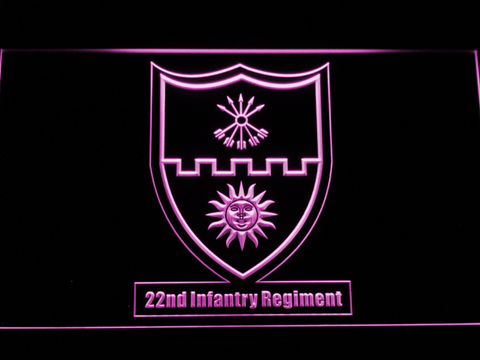Image of US Army 22nd Infantry Regiment LED Neon Sign - Purple - SafeSpecial