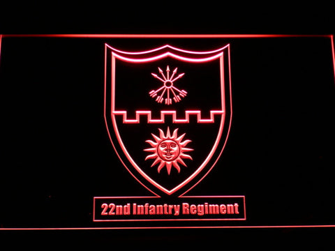 Image of US Army 22nd Infantry Regiment LED Neon Sign - Red - SafeSpecial