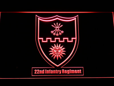 US Army 22nd Infantry Regiment LED Neon Sign - Red - SafeSpecial