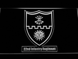 US Army 22nd Infantry Regiment LED Neon Sign - White - SafeSpecial