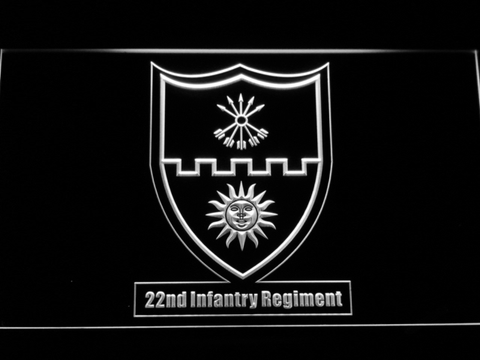 Image of US Army 22nd Infantry Regiment LED Neon Sign - White - SafeSpecial