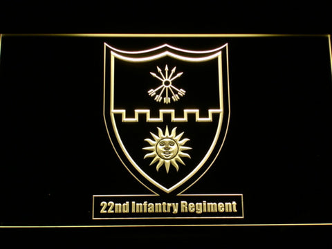Image of US Army 22nd Infantry Regiment LED Neon Sign - Yellow - SafeSpecial