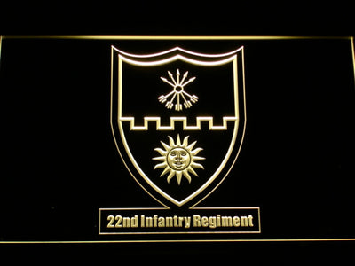 US Army 22nd Infantry Regiment LED Neon Sign - Yellow - SafeSpecial