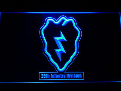Image of US Army 25th Infantry Division LED Neon Sign - Blue - SafeSpecial