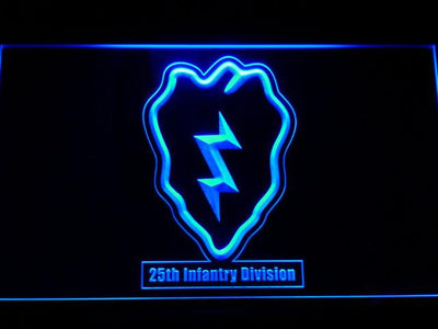 US Army 25th Infantry Division LED Neon Sign - Blue - SafeSpecial
