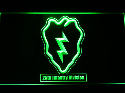 Image of US Army 25th Infantry Division LED Neon Sign - Green - SafeSpecial