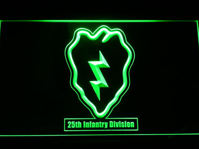 US Army 25th Infantry Division LED Neon Sign - Green - SafeSpecial
