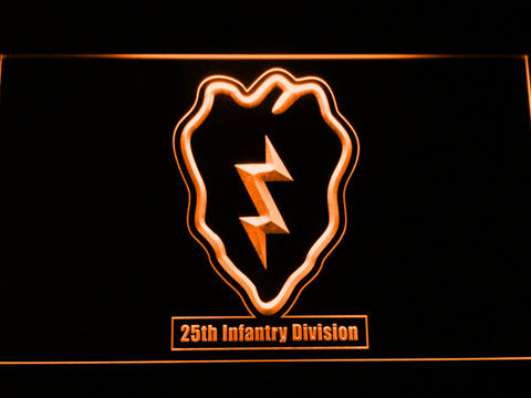 Image of US Army 25th Infantry Division LED Neon Sign - Orange - SafeSpecial