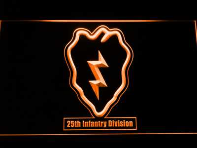US Army 25th Infantry Division LED Neon Sign - Orange - SafeSpecial