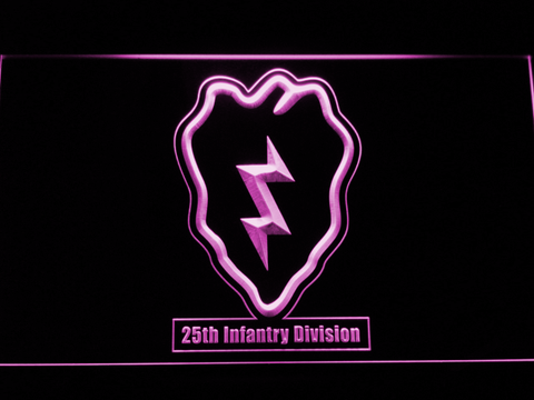 Image of US Army 25th Infantry Division LED Neon Sign - Purple - SafeSpecial