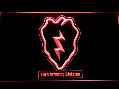 Image of US Army 25th Infantry Division LED Neon Sign - Red - SafeSpecial