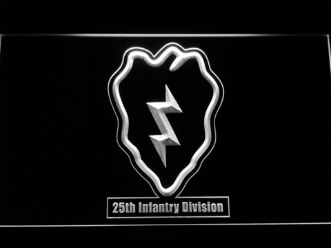Image of US Army 25th Infantry Division LED Neon Sign - White - SafeSpecial