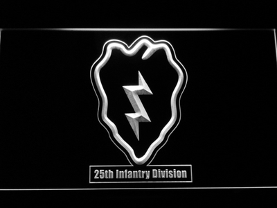 US Army 25th Infantry Division LED Neon Sign - White - SafeSpecial