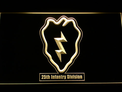 Image of US Army 25th Infantry Division LED Neon Sign - Yellow - SafeSpecial