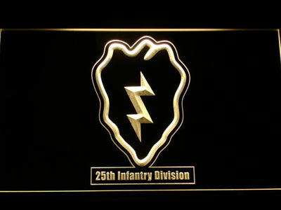 US Army 25th Infantry Division LED Neon Sign - Yellow - SafeSpecial