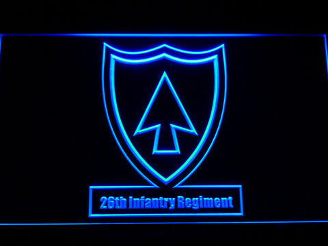 Image of US Army 26th Infantry Regiment LED Neon Sign - Blue - SafeSpecial