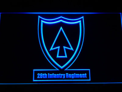 US Army 26th Infantry Regiment LED Neon Sign - Blue - SafeSpecial