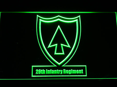 Image of US Army 26th Infantry Regiment LED Neon Sign - Green - SafeSpecial