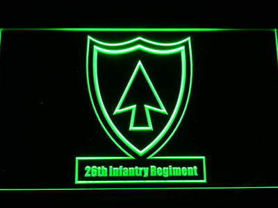 US Army 26th Infantry Regiment LED Neon Sign - Green - SafeSpecial