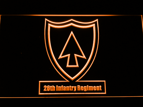 Image of US Army 26th Infantry Regiment LED Neon Sign - Orange - SafeSpecial