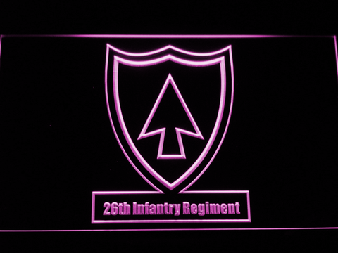 Image of US Army 26th Infantry Regiment LED Neon Sign - Purple - SafeSpecial