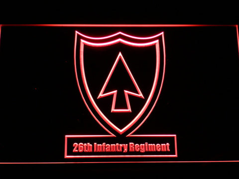 Image of US Army 26th Infantry Regiment LED Neon Sign - Red - SafeSpecial