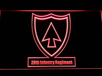 US Army 26th Infantry Regiment LED Neon Sign - Red - SafeSpecial