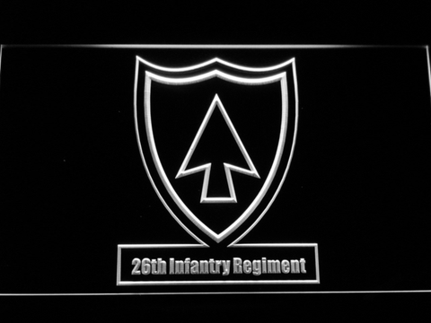 Image of US Army 26th Infantry Regiment LED Neon Sign - White - SafeSpecial