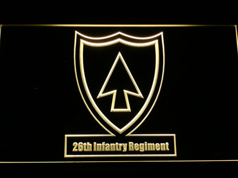 Image of US Army 26th Infantry Regiment LED Neon Sign - Yellow - SafeSpecial