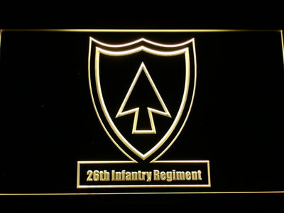 US Army 26th Infantry Regiment LED Neon Sign - Yellow - SafeSpecial
