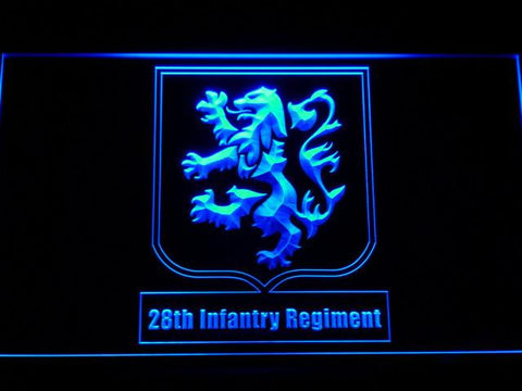 Image of US Army 28th Infantry Regiment LED Neon Sign - Blue - SafeSpecial