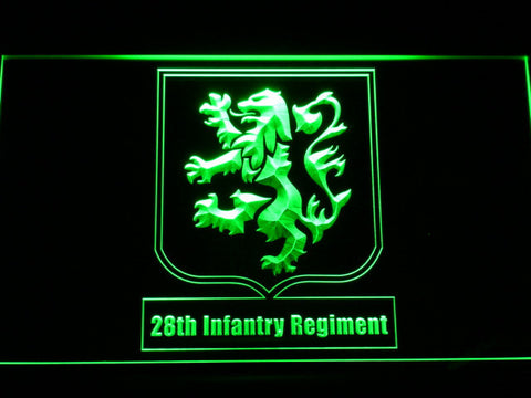 Image of US Army 28th Infantry Regiment LED Neon Sign - Green - SafeSpecial