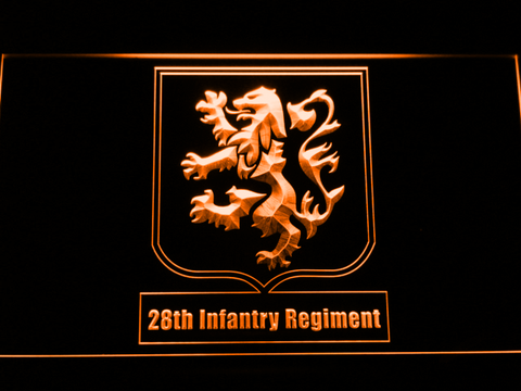 Image of US Army 28th Infantry Regiment LED Neon Sign - Orange - SafeSpecial
