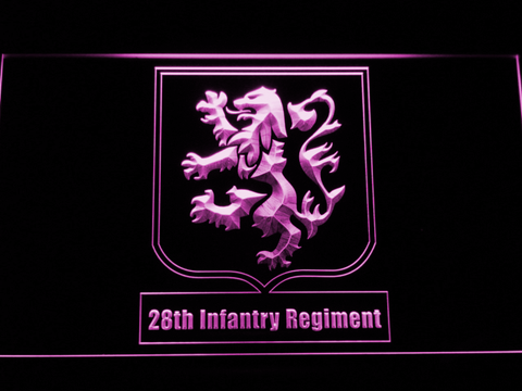 Image of US Army 28th Infantry Regiment LED Neon Sign - Purple - SafeSpecial