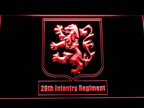 Image of US Army 28th Infantry Regiment LED Neon Sign - Red - SafeSpecial