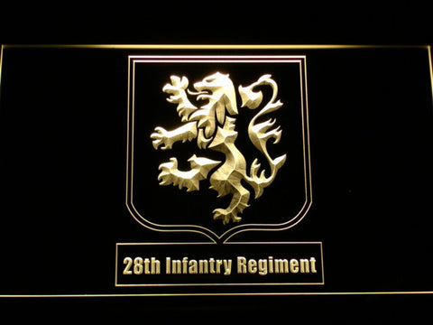 Image of US Army 28th Infantry Regiment LED Neon Sign - Yellow - SafeSpecial