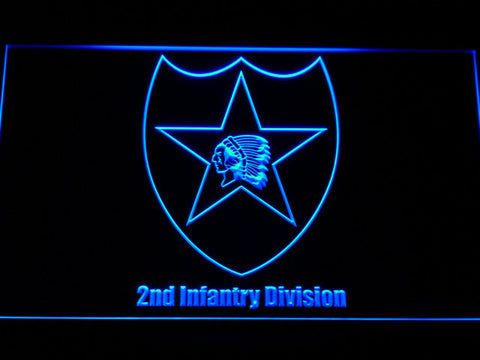 Image of US Army 2nd Infantry Division LED Neon Sign - Blue - SafeSpecial