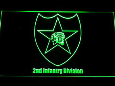 US Army 2nd Infantry Division LED Neon Sign - Green - SafeSpecial