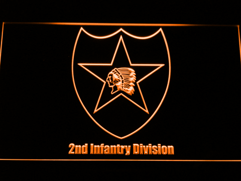Image of US Army 2nd Infantry Division LED Neon Sign - Orange - SafeSpecial