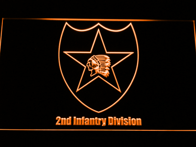 US Army 2nd Infantry Division LED Neon Sign - Orange - SafeSpecial
