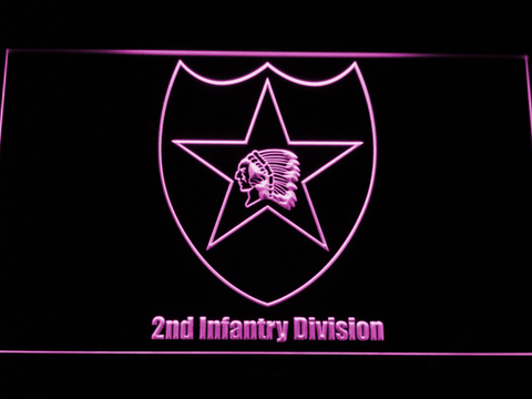Image of US Army 2nd Infantry Division LED Neon Sign - Purple - SafeSpecial