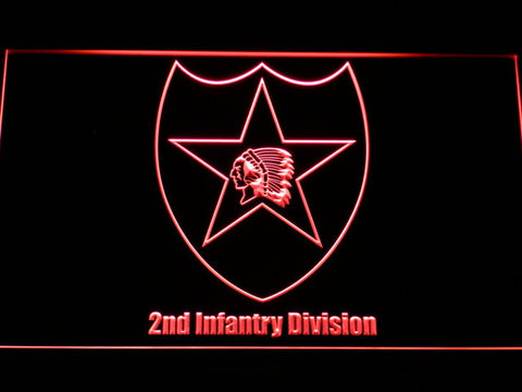 Image of US Army 2nd Infantry Division LED Neon Sign - Red - SafeSpecial