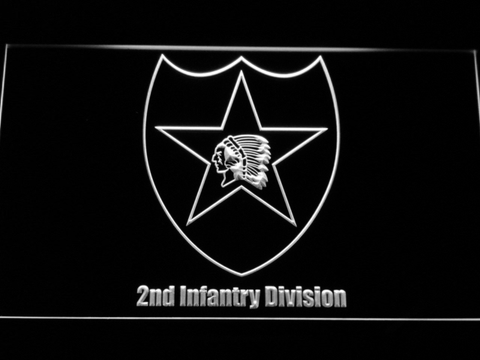 Image of US Army 2nd Infantry Division LED Neon Sign - White - SafeSpecial