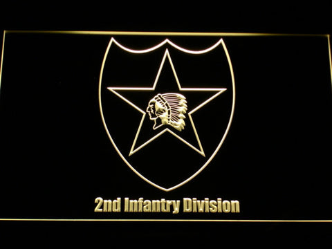 Image of US Army 2nd Infantry Division LED Neon Sign - Yellow - SafeSpecial